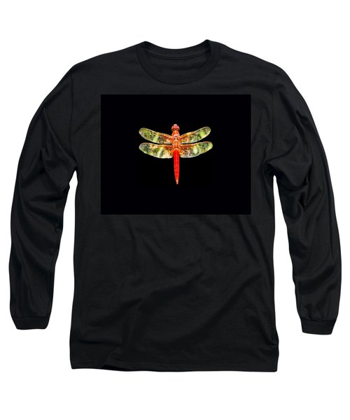Red Dragonfly Small Long Sleeve T-Shirt by Tony Grider