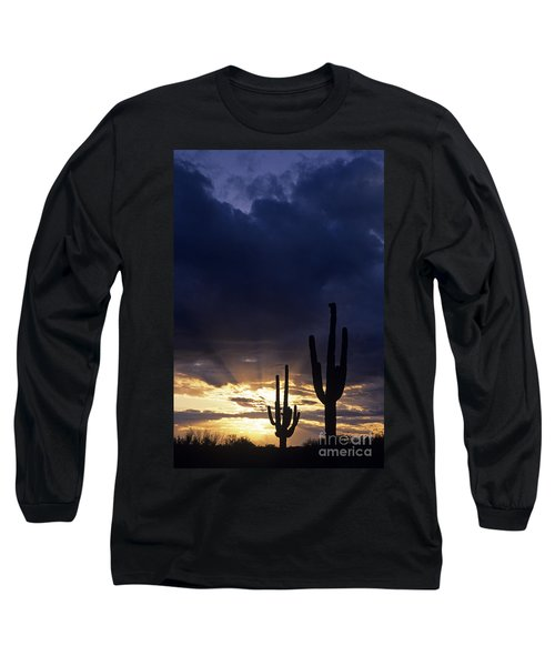 Silhouetted Saguaro Cactus Sunset At Dusk Arizona State Usa Long Sleeve T-Shirt