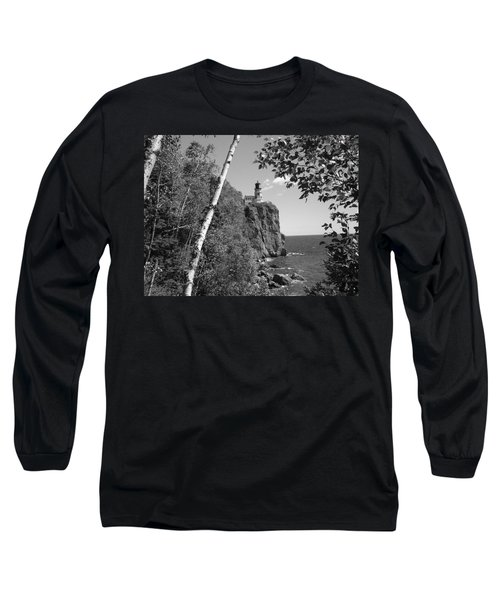 Split Rock Black And White Long Sleeve T-Shirt by Bonfire Photography