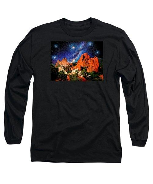 Starry Night At Garden Of The Gods Long Sleeve T-Shirt by John Hoffman