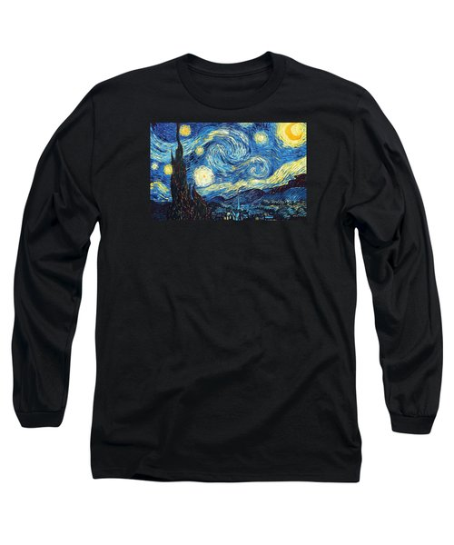 Long Sleeve T-Shirt featuring the painting The Starry Night by Vincent Van Gogh