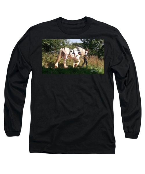 Tiverton Barge Horse Long Sleeve T-Shirt by John Williams