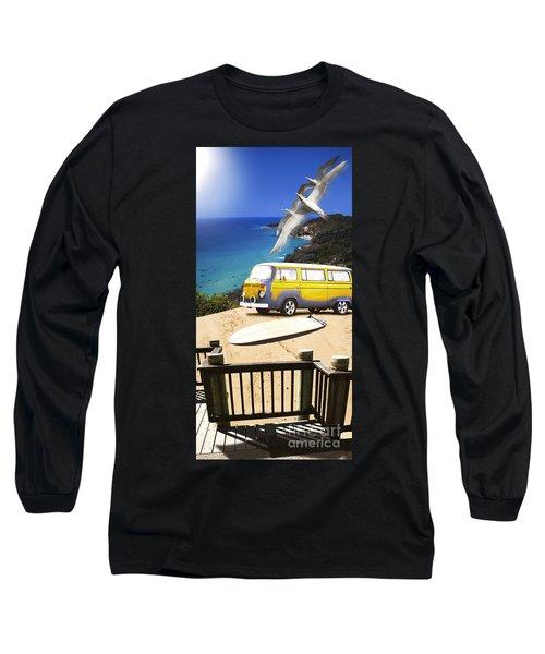 Van And Surf Board At Beach Long Sleeve T-Shirt