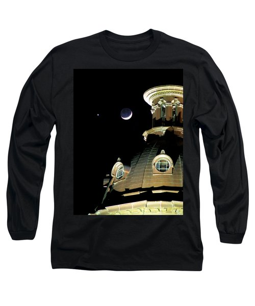 Venus And Crescent Moon-1 Long Sleeve T-Shirt by Charles Hite