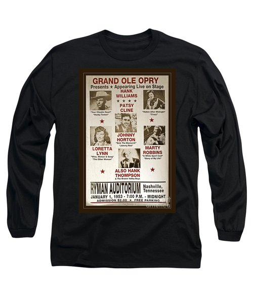 Vintage 1953 Grand Ole Opry Poster Long Sleeve T-Shirt by John Stephens
