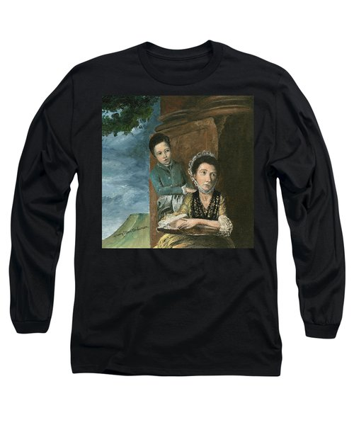 Long Sleeve T-Shirt featuring the painting Vintage Mother And Son by Mary Ellen Anderson