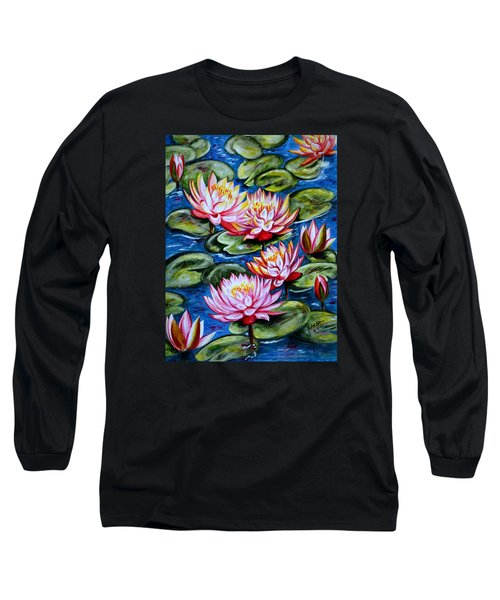 Long Sleeve T-Shirt featuring the painting Water Lilies by Harsh Malik