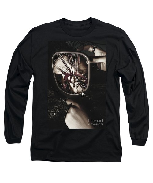 Woman With Broken Mirror And Shattered Reflection Long Sleeve T-Shirt