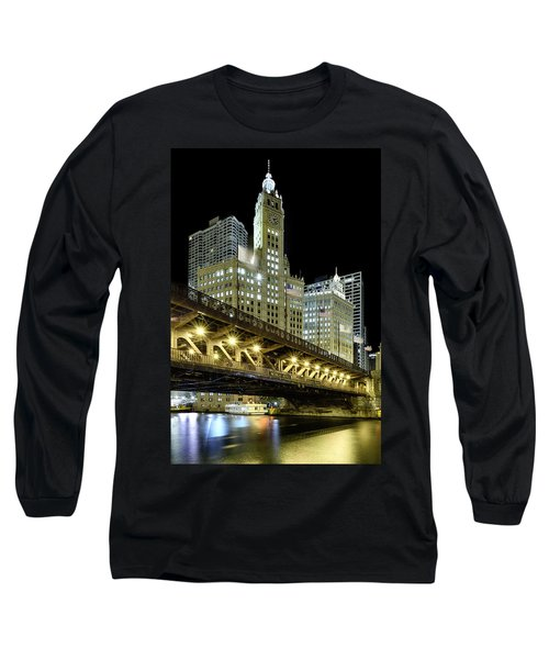Long Sleeve T-Shirt featuring the photograph Wrigley Building At Night by Sebastian Musial