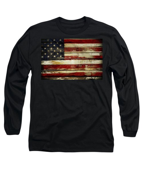 American Flag Long Sleeve T-Shirt by Les Cunliffe