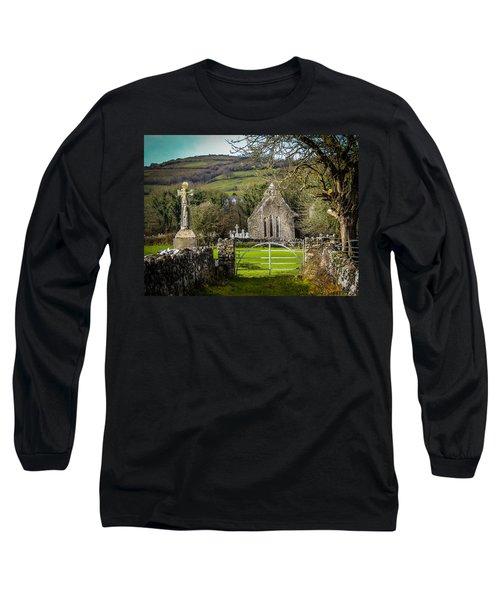 12th Century Cross And Church In Ireland Long Sleeve T-Shirt