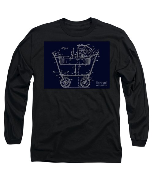1922 Baby Carriage Patent Art Blueprint Long Sleeve T-Shirt by Lesa Fine