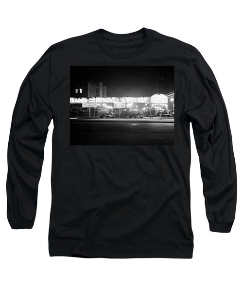 1930s New And Used Car Lot At Night Long Sleeve T-Shirt