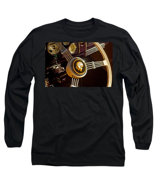 Long Sleeve T-Shirt featuring the photograph 1939 Ford Standard Woody Steering Wheel by Jill Reger