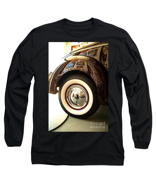 Long Sleeve T-Shirt featuring the photograph Classic Maroon 1940 Ford Rear Fender And Wheel   by Jerry Cowart
