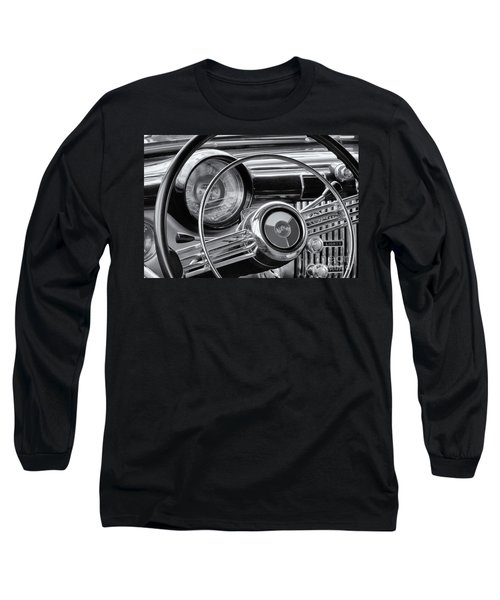 1953 Buick Super Dashboard And Steering Wheel Bw Long Sleeve T-Shirt by Jerry Fornarotto