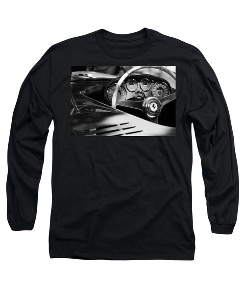 1954 Ferrari 500 Mondial Spyder Steering Wheel Emblem Long Sleeve T-Shirt by Jill Reger