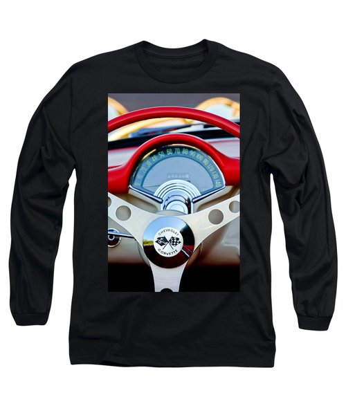 1957 Chevrolet Corvette Convertible Steering Wheel Long Sleeve T-Shirt