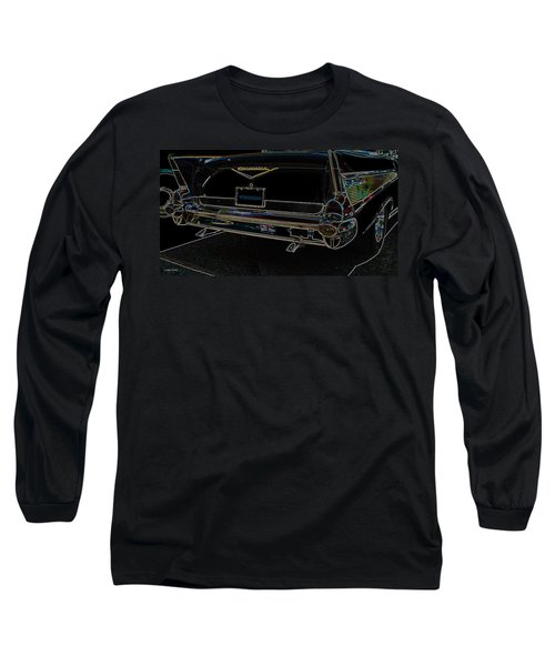 1957 Chevrolet Rear View Art Black_varooom Tag Long Sleeve T-Shirt