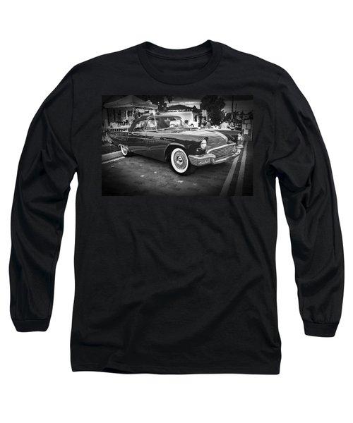 1957 Ford Thunderbird Convertible Bw Long Sleeve T-Shirt