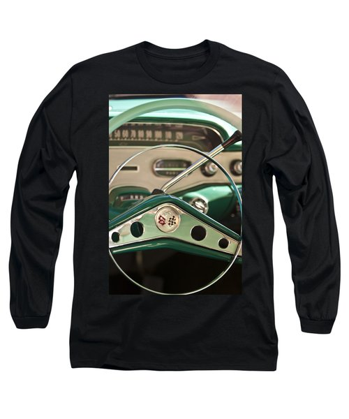 1958 Chevrolet Impala Steering Wheel Long Sleeve T-Shirt