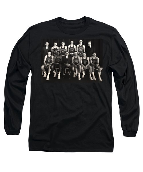 1959 University Of Michigan Basketball Team Photo Long Sleeve T-Shirt by Mountain Dreams