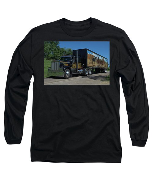 Smokey And The Bandit Tribute 1973 Kenworth W900 Black And Gold Semi Truck Long Sleeve T-Shirt by Tim McCullough