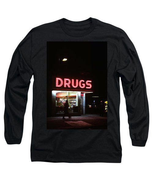 1980s Drug Store At Night Pink Neon Long Sleeve T-Shirt