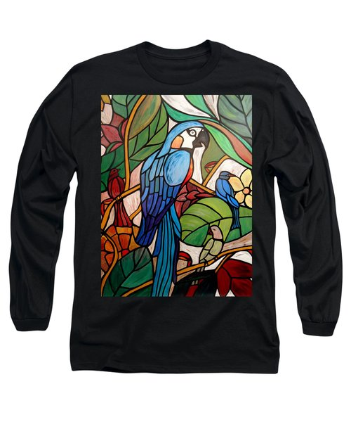 Long Sleeve T-Shirt featuring the painting 3 Birds On A Vine by Cynthia Amaral