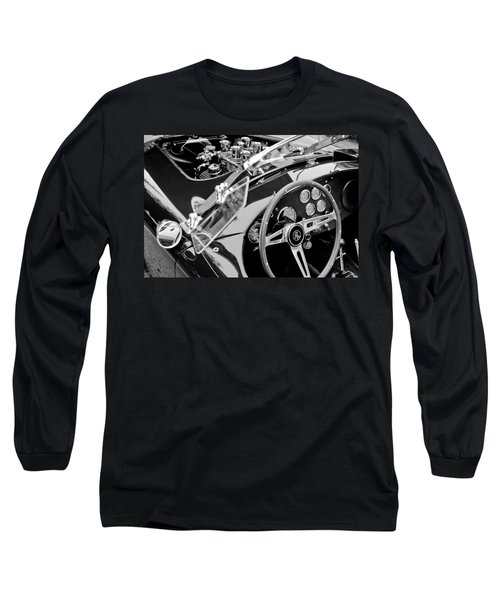 Ac Shelby Cobra Engine - Steering Wheel Long Sleeve T-Shirt by Jill Reger
