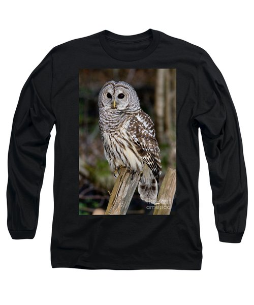 Long Sleeve T-Shirt featuring the photograph Barred Owl by Les Palenik