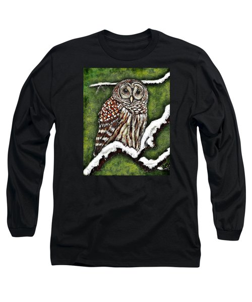 Long Sleeve T-Shirt featuring the painting Barred Owl by VLee Watson