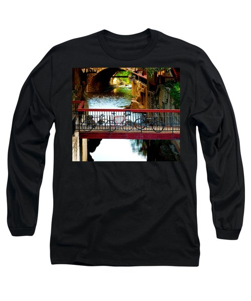 Bikes Over Waller Creek In Austin Long Sleeve T-Shirt