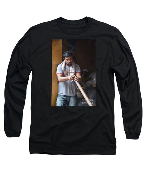 Long Sleeve T-Shirt featuring the photograph Cooking Breakfast Early Morning Lahore Pakistan by Imran Ahmed