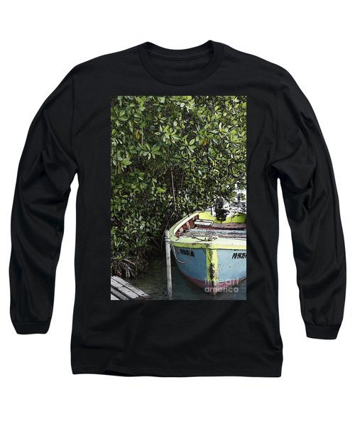 Long Sleeve T-Shirt featuring the photograph Docked By The Mangrove Trees by Lilliana Mendez
