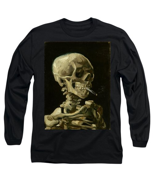 Head Of A Skeleton With A Burning Cigarette Long Sleeve T-Shirt
