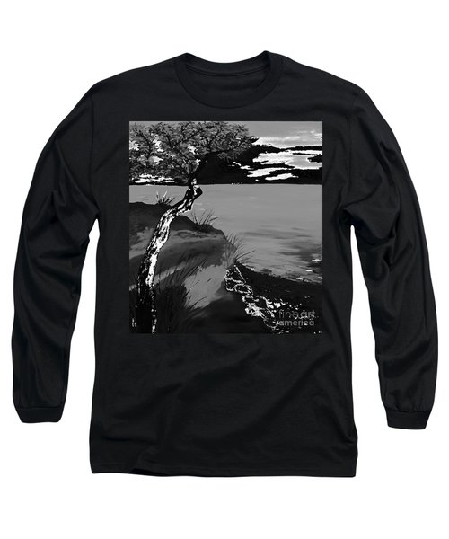Horizon In Black And White Long Sleeve T-Shirt