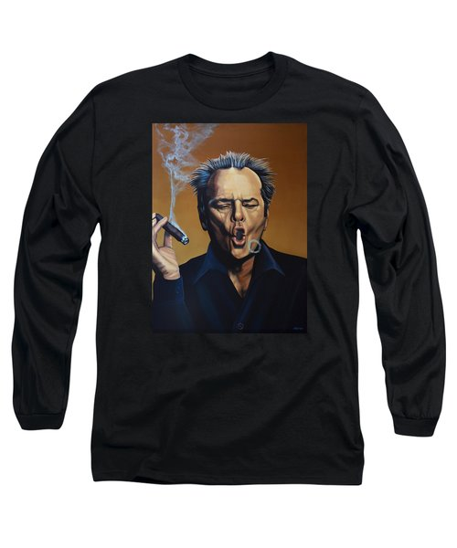 Jack Nicholson Painting Long Sleeve T-Shirt by Paul Meijering