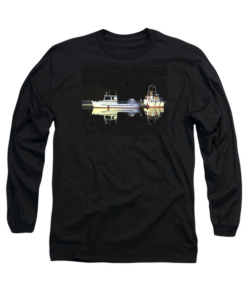 Long Sleeve T-Shirt featuring the painting Last Light  Island Moorage by Gary Giacomelli