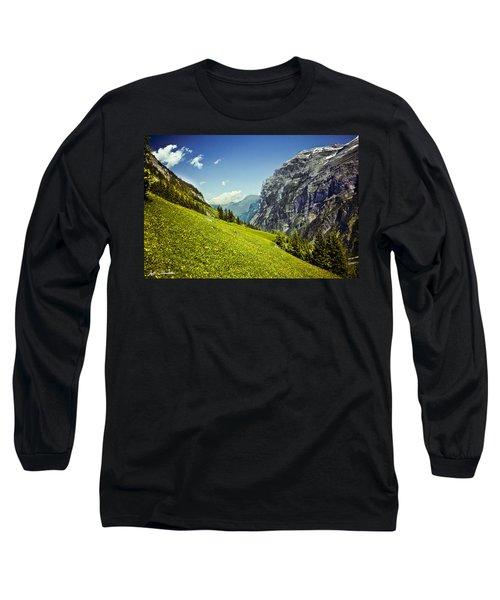 Lauterbrunnen Valley In Bloom Long Sleeve T-Shirt by Jeff Goulden