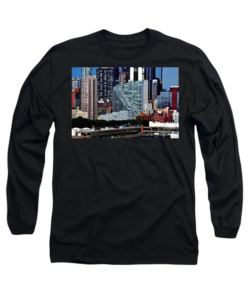 New York City Skyline With Mercedes House Long Sleeve T-Shirt
