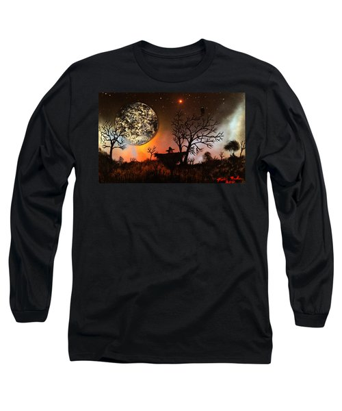 Night Of The Scarecrow  Long Sleeve T-Shirt by Michael Rucker