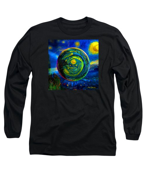 Orbiting A Starry Night  Long Sleeve T-Shirt by Robin Moline