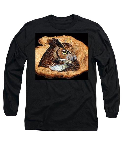 Owl On Oak Slab Long Sleeve T-Shirt by Ron Haist