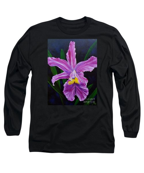 Long Sleeve T-Shirt featuring the painting Purple Orchid by Jenny Lee