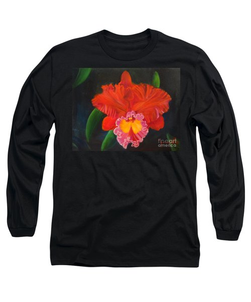 Long Sleeve T-Shirt featuring the painting Red Orchid by Jenny Lee