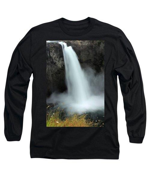 Snoqualmie Falls Long Sleeve T-Shirt by Kristin Elmquist