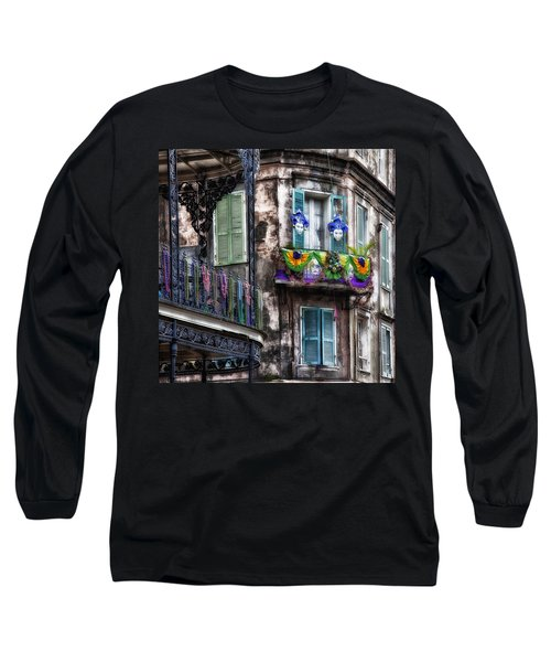 The French Quarter During Mardi Gras Long Sleeve T-Shirt by Mountain Dreams
