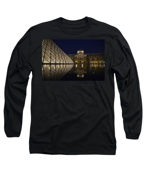 The Louvre Palace And The Pyramid At Night Long Sleeve T-Shirt