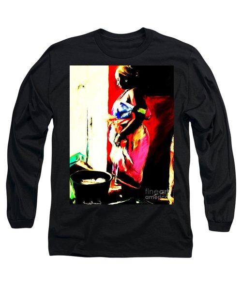 Long Sleeve T-Shirt featuring the painting Ugunda Fish Lady by Vannetta Ferguson